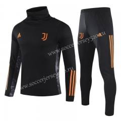 UEFA Champions League 2020-2021 Juventus Black High Collar Thailand Soccer Tracksuit Uniform-GDP