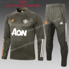 2020-2021 Manchester United Army Green Kids/Youth Soccer Tracksuit Uniform-815