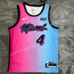 City Version 2021-2022 Miami Heat Pink&Blue #4 NBA Jersey-311