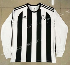 Retro Version Juventus Home Black&White LS Thailand Soccer Jersey AAA-818