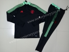 2021-2022 Manchester United Black Thailand Soccer Tracksuit Uniform-GDP