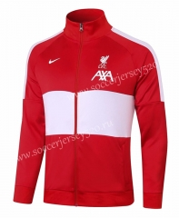 2020-2021 Liverpool Red Half White Thailand Soccer Jacket-815