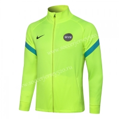 2021-2022 Inter Milan Fluorescent Green High Collar Thailand Soccer Jacket-815