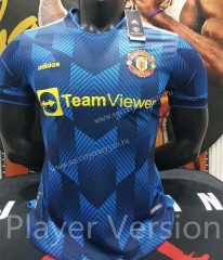 Player Version 2021-2022 Manchester United Blue Thailand Soccer Training Jersey