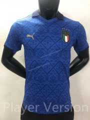 Player Version 2021-2022 Italy Home Blue Thailand Soccer Jersey AAA