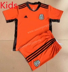 2021-2022 Mexico Goalkeeper Orange Kids/Youth Soccer Uniform-AY
