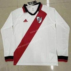 Retro Version River Plate Home White LS Thailand Soccer Jersey AAA-818