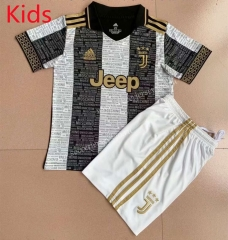 Signed Jointly Version 2021-2022 Juventus Black&White Kids/Youth Soccer Uniform-AY