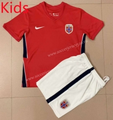 2021-2022 Norway Home Red Kids/Youth Soccer Uniform-AY