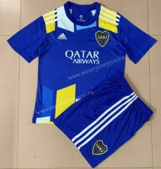 2021-2022 Boca Juniors 2nd Away Blue Soccer Uniform-AY