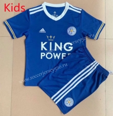 2021-2022 Leicester City Home Blue Kid/Youth Soccer Unifrom-AY