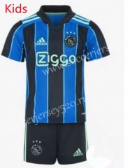 2021-2022 Ajax Away Blue&Black Kids/Youth Soccer Uniform